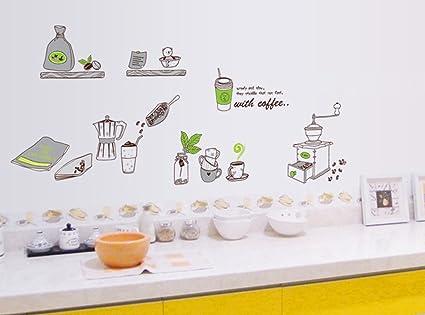 ufengke® Personalizzato Vasellame da Cucina Adesivi Murali, Caffè e ...
