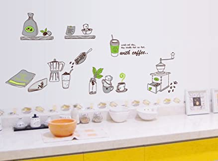 ufengke® Personalizzato Vasellame da Cucina Adesivi Murali, Caffè ...
