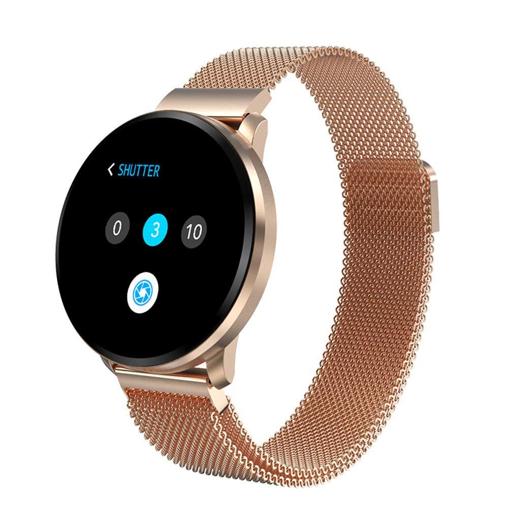 Smart Fitness Watch, KingTo 1.22 inch Full Touch Color Screen Smart Bluetooth Bracelet Smart Watch Waterproof IP67 Bracelet Heart Rate Blood Pressure Blood Oxygen Monitoring (Gold)