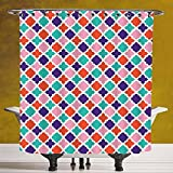 Fun Shower Curtain 3.0 by SCOCICI [ Ikat Decor,Colorful Mosaic Tiles Oriental Asian Islamic Ikat Indonesian Patterns Motifs Decorative Home,Multi ] Fabric Bathroom Decor Set with Hooks