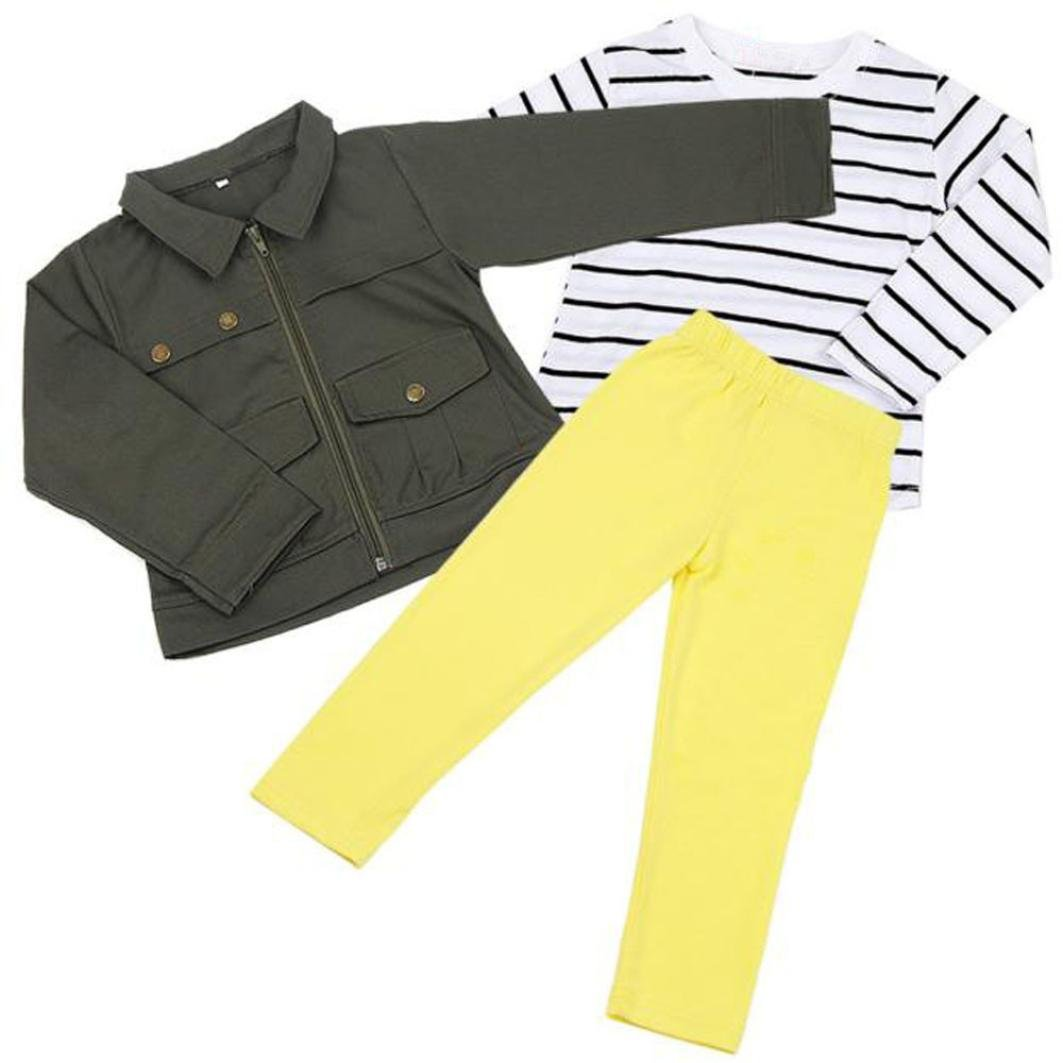 PHOTNO 3 Pieces Suit Outfit For Toddler Girls Long Sleeve T-Shirt Tops+Coat Jackett+Long Pants Clothes Outfits (2-6T) (120 (5T), Army Green) by PHOTNO (Image #3)