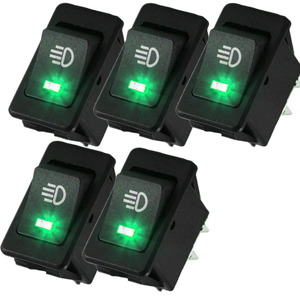 ReFaXi 5 X 12V 35A Car Fog Light Rocker Toggle Switch 4Pin Green LED Dashboard Sales