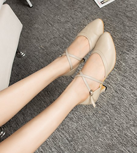 Heel Prom Dancing Shoes Miyoopark 6cm Pointed Salsa Nude Wedding Ladies Leather Toe Pumps Latin Tango q0w6zqr8