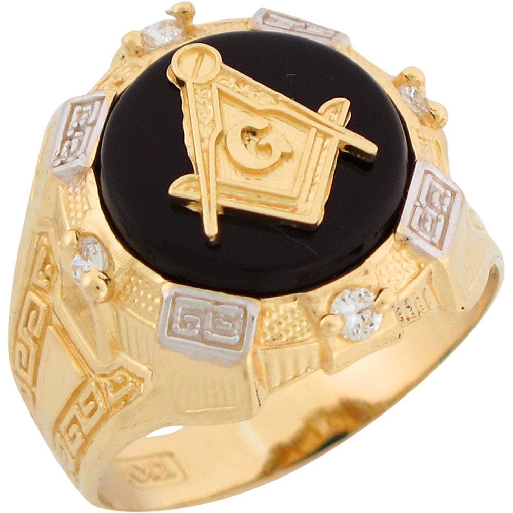 14k Two Tone Gold Onyx White CZ Freemason Masonic Mens Ring
