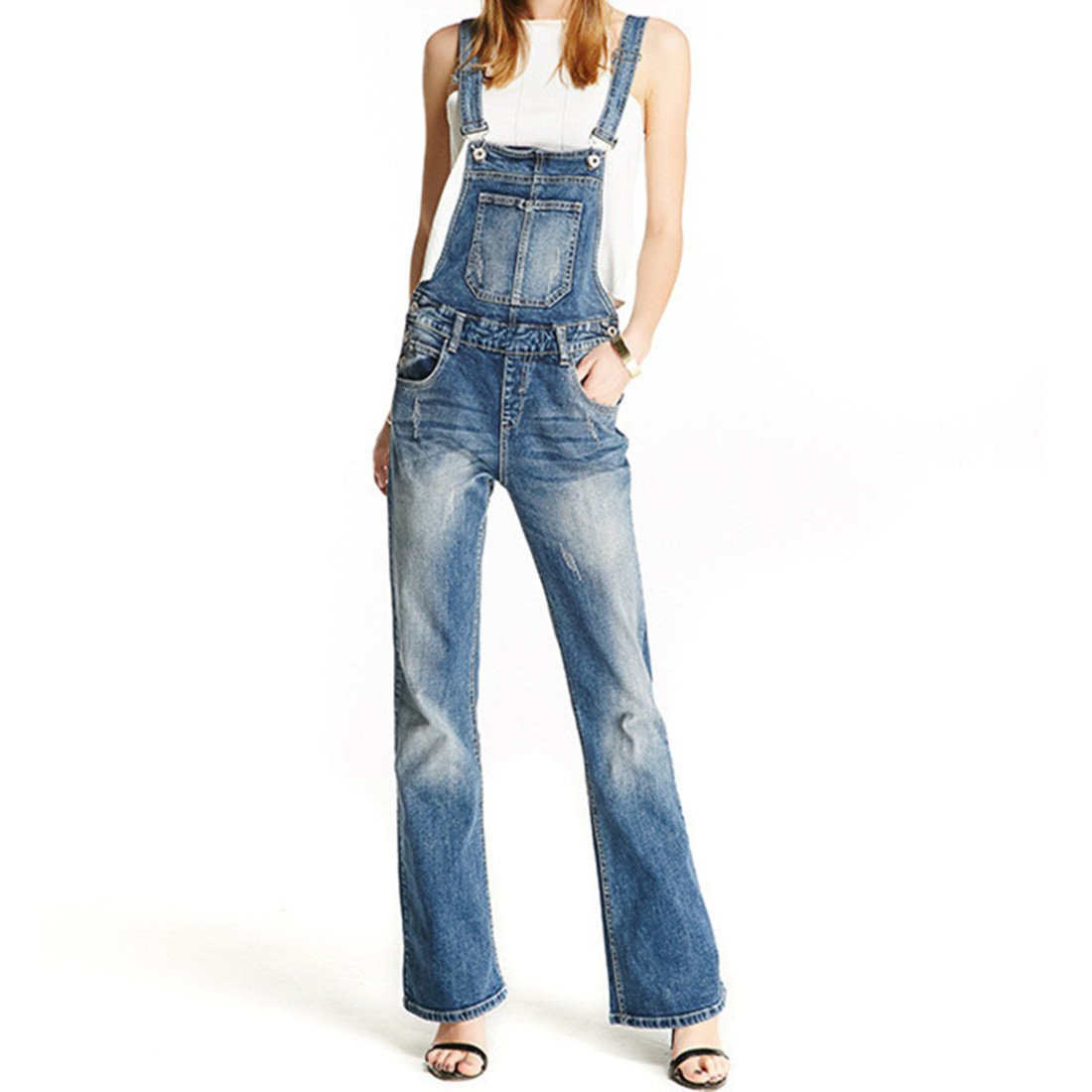 Women Clothing Blue Flares Bib Denim Overalls (XL, Blue)