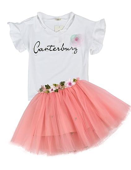 Princess Tulle Skirt Clothing Set Girls 2PCS Tutu Outfits Short Sleeve T-Shirt and Skirt Set