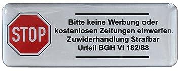 3d Briefkasten Aufkleber Silber 402002 Groß Bitte Keine Werbung Laut Bgh 80 X 30 Mm Exzellenter Wetterschutz Keine Billigen Folienaufkleber