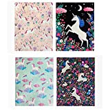 2 Pocket Paper Folder by Greenroom, Size 12 inches (L) x 9.5 inches (W) x .08 inches (D) Unicorns, Pack of 4
