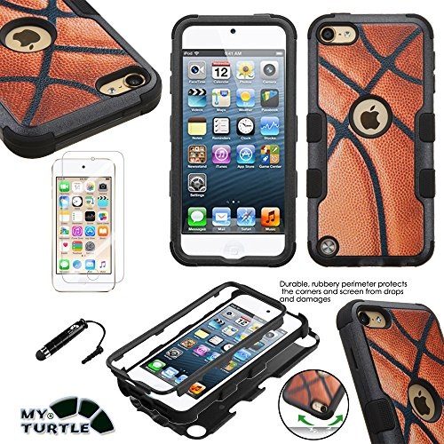 Hard Basketball - MyTurtle Shockproof Hybrid 3-Layer Hard Silicone Shell Cover with Stylus Pen and Screen Protector for iPod Touch 5th 6th Generation, Basketball Tuff