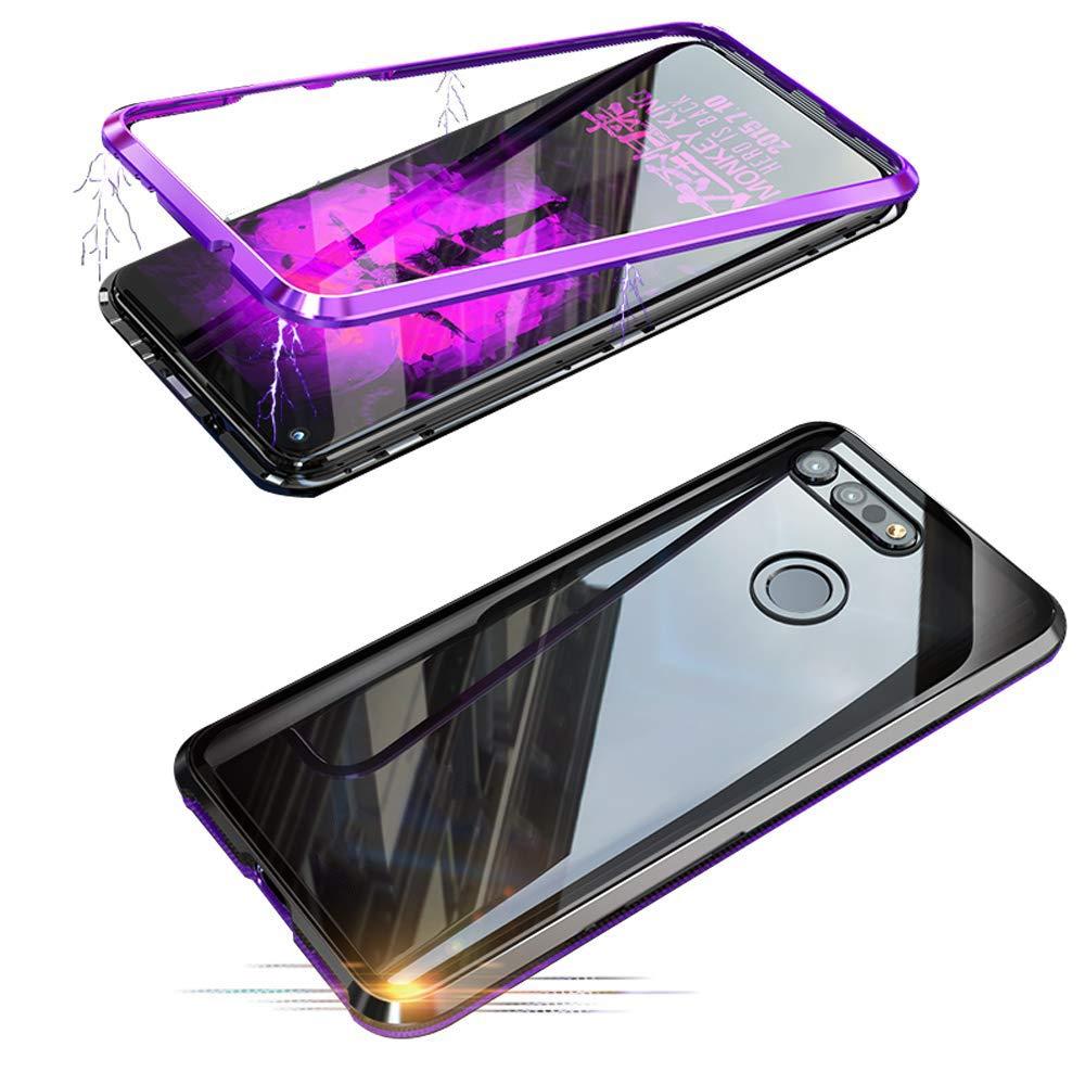 Alsoar Adsorción Magnética Funda Compatible con Samsung Galaxy C9 Pro Estuche Vidrio Templado Transparente Trasera Cubierta Marco de Metal 360 Grados Protección Carcasa (Púrpura): Amazon.es: Electrónica