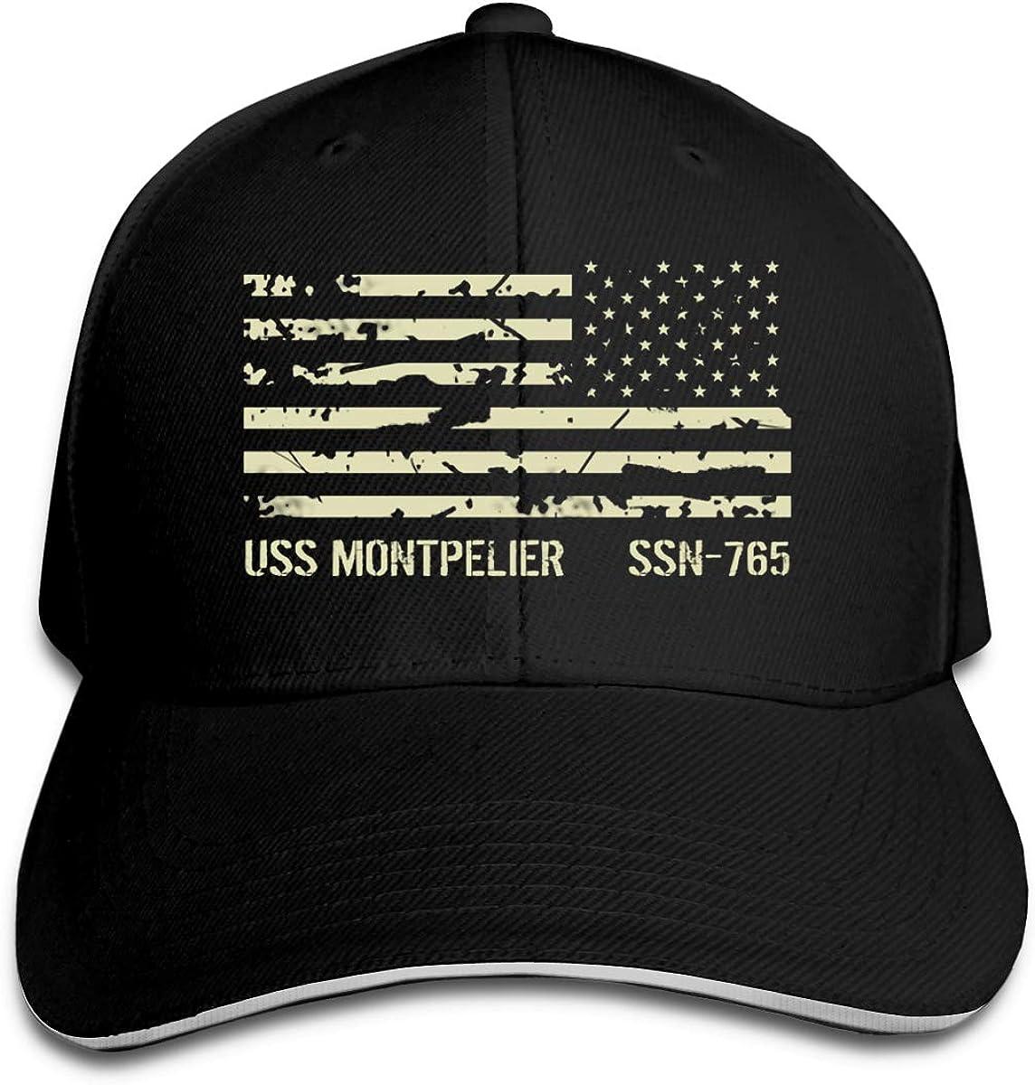 USS Montpelier SSN-765 Unisex Adult Baseball Caps Adjustable Sandwich Caps Jeans Caps Adjustable Denim Trucker Cap