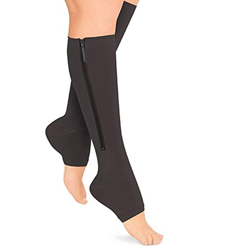 Moojm Compresi/ón Zip Sox Calcetines Stretchy Zipper Pierna Unisex Open Toe Medias hasta La Rodilla