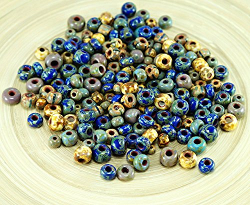 Anissa Exclusive Picasso Mix Czech Glass Seed Beads Rustic Blue Multicolor Striped Rough Aged Tribal 20g - Exclusive Glass