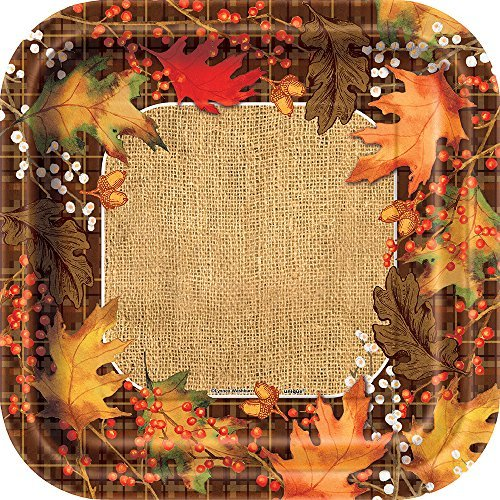 Square Rustic Autumn Leaves Dinner Plates, 8ct ()