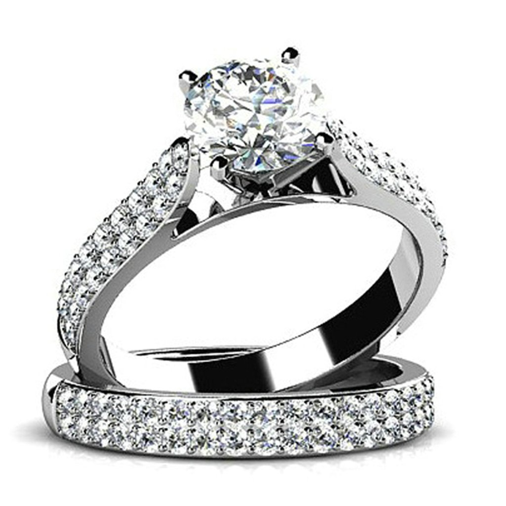 Epinki Custom Ring-925 Sterling Silver Women Wedding Band Ring Cubic Zirconia Double Layers Set Size 11