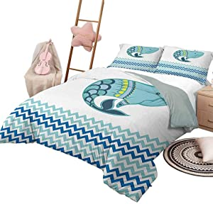 Bedding Set Whale Bedding - Lightweight and Soft Big Ornamental Tailed Design Whale with Zig Zag Pattern Ocean Wave Artwork Print Decorative 3 Piece Bedding Set with 2 Pillow Shams, Twin Size