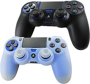DOTBUY PS4 Controller Funda Siliconas Protector Protectora Mando de PlayStation 4 PS4 Slim PS4 Pro Game Cubierta de de 2 Colores con 2 Pares de Agarres Pulgar (Negro,Blanco): Amazon.es: Electrónica