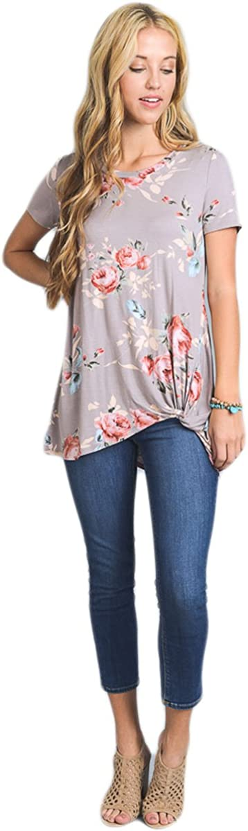 Vanilla Bay Knotted Floral Print Fashion T