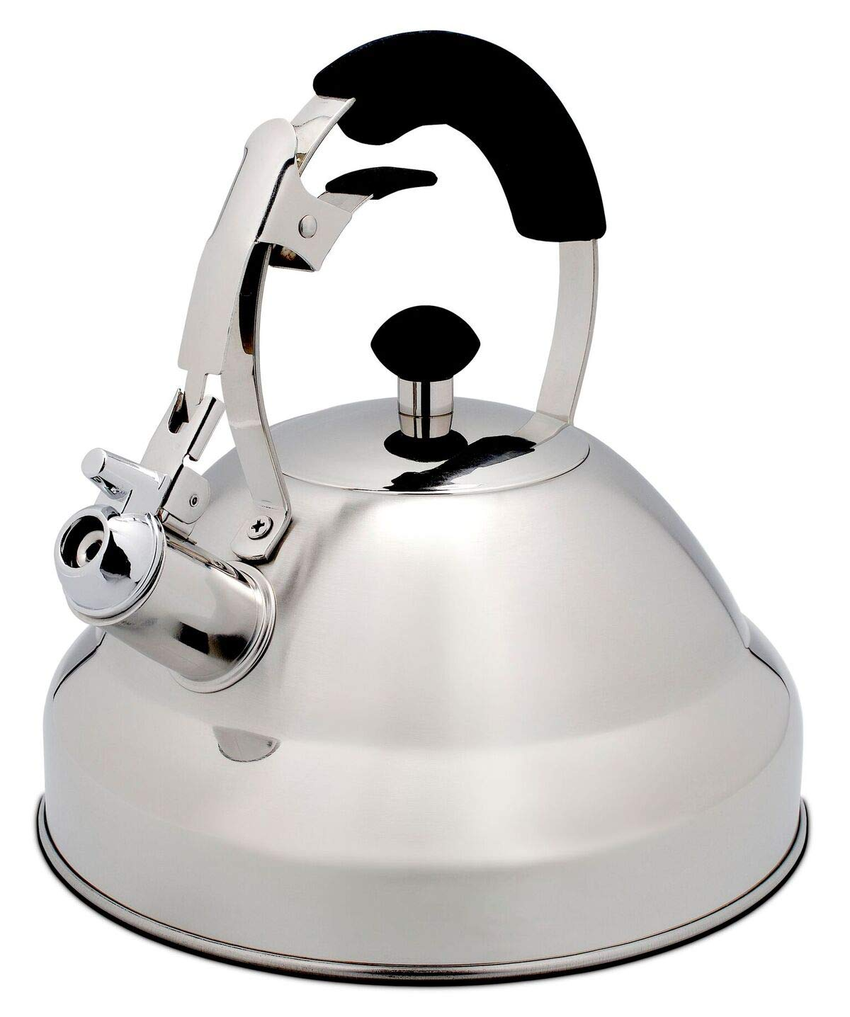 Extra Sturdy Surgical Stainless Steel Whistling Tea Kettle for Stovetop with Aluminum Layered Bottom 2.75 Quart Teapot by Bellemain by Bellemain