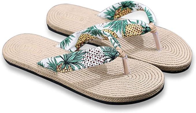 BIUU Chanclas para mujer Sandalias de imitación de paja de viaje para mujer. chancletas Playa de fondo plano plana con chanclas para mujer zapatillas: Amazon.es: Ropa y accesorios