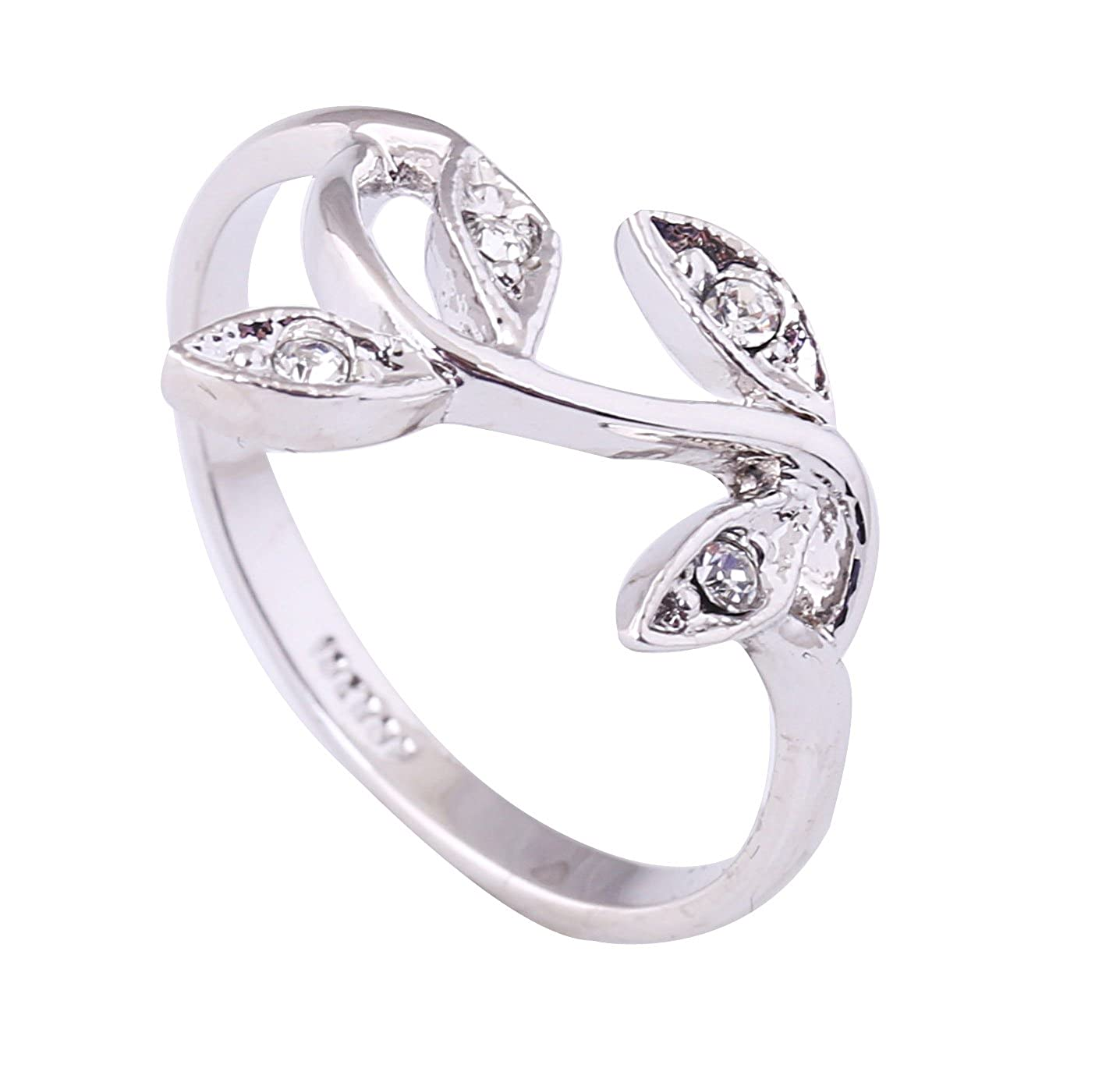 Acefeel 18K White Gold Plated Czech Drilling Leaves Vines Womens Fashion Ring Valentine's Day Gift R027