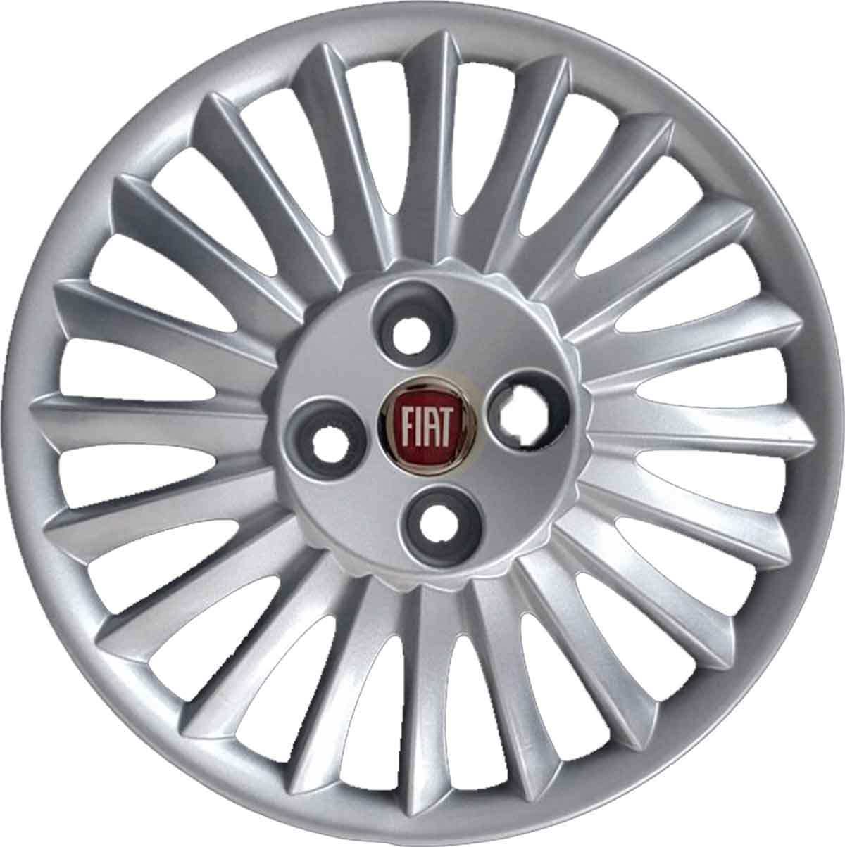 Juego de 4 tapacubos para llanta de 15, para Fiat Grande Punto a partir del año 2005, logotipo rojo, no originales: Amazon.es: Coche y moto