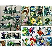 "Pokemon RANDOM 10 Piece MINI Holiday Christmas Ornament Set with 10 Randomly Selected Pokemon Character Ornaments Around 2"" Tall"