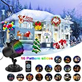 KMASHI Christmas LED Decorations Light-16 Slides with Remote Control Timer Show Landscape lamp,Waterproof Holiday Projection Light for Christmas or Halloween decor