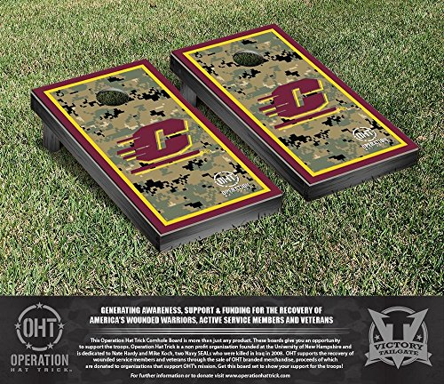 Operation Hat Trick Central Michigan Chippewas Cornhole Game Set Border Version by Victory Tailgate