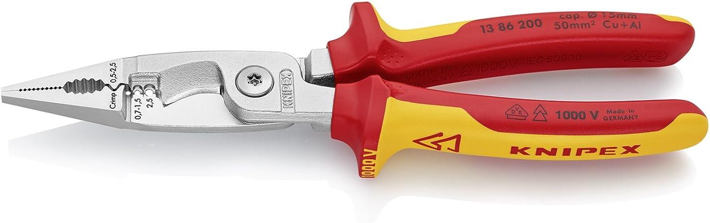 Knipex 13 46 165 Pince /à d/égainer avec fonctions de d/énudage et de coupe homologu/ée VDE