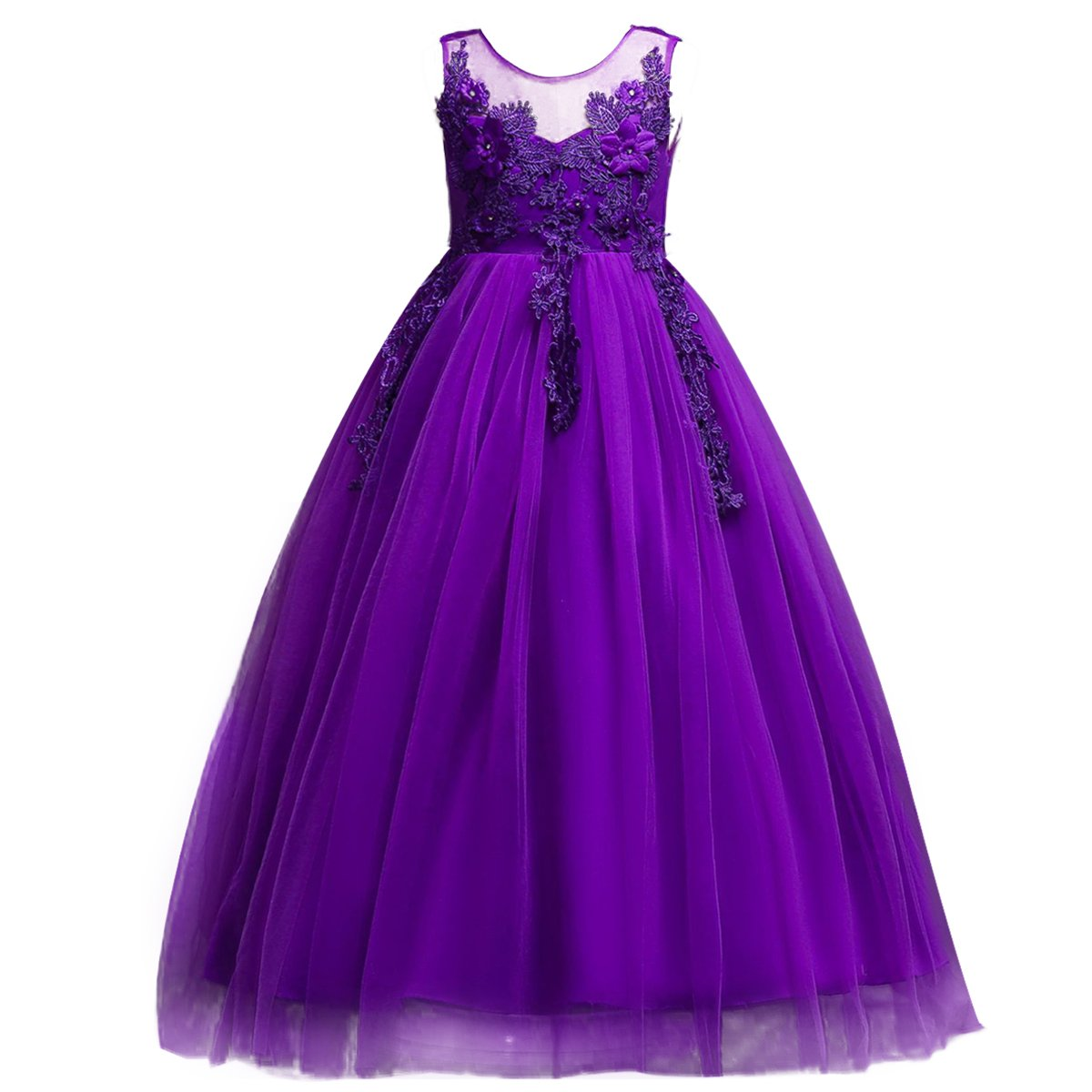 IWEMEK Lace Flower Girls Bridesmaid Wedding Party Birthday Princess Pageant Formal Tulle Long Dress Ball Gown Baby Kids 5-14T Purple 11-12 Years