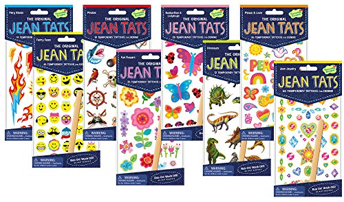 [Peaceable Kingdom Jean Tats Giant Party Pack of Temporary Tattoos for Fabric] (Make Your Own Halloween Costume With Clothes)