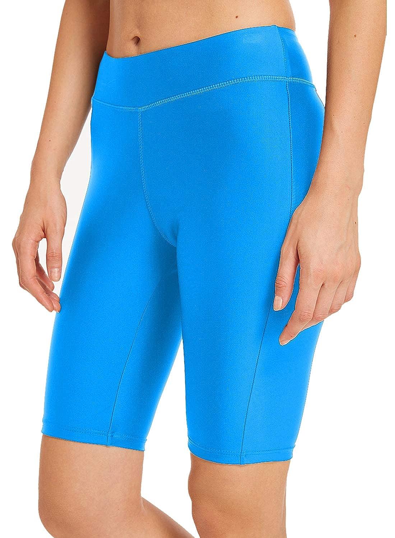 bluee Byoauo Women's Long Boardshort High Waisted Skinny Siwm Shorts