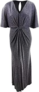 product image for Betsy & Adam Women's Plus Size Metallic Twist-Front Slit Gown (16W, Black Multi)