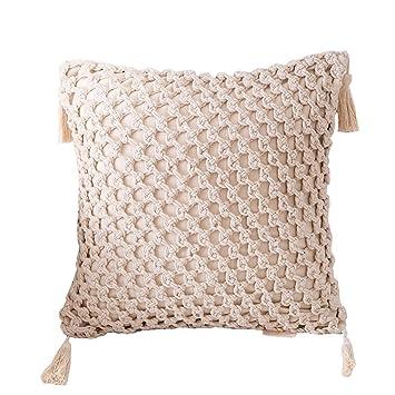 Amazon.com: JSSFQK Pillow Hand-Woven Tassel Hug Pillowcase ...