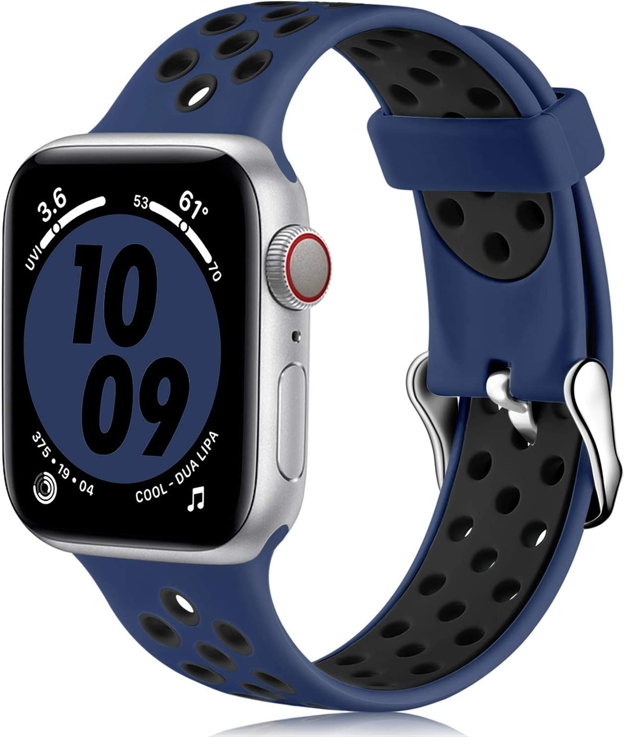 Nofeda bands Compatible with Apple Watch Band 38mm 40mm for Women Men,Soft Silicone Waterproof Breathable Replacement Wristband Sport Strap for iWatch Series 1/2/3/4/5/6/SE,Navy Blue/Black, M/L