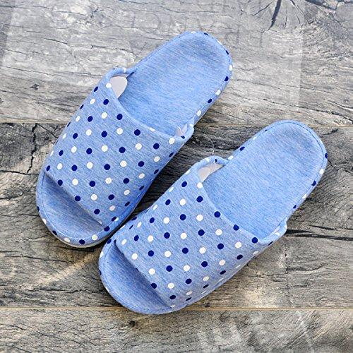 Accueil Ouvert Intérieur Coton Pantoufles Chaussures Bout Semelles Maison Sol Femmes Co Étanches Lightblue Toe Et Hommes Couple Tricoté De 6EASqEX