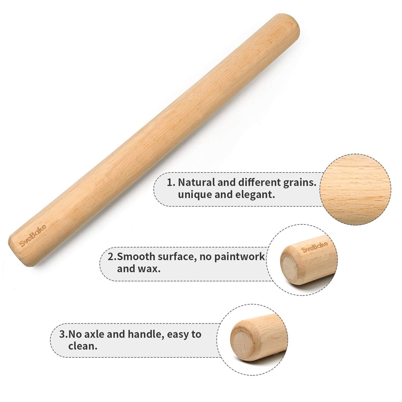 SveBake Beechwood rodillo-fondant rodillo perno Rolling PIN balanceo perno rodillo perfecto para panaderos 40 cm