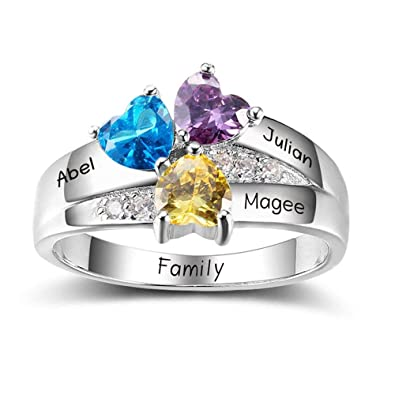 a0f0d3589cc1e Diamondido Personalized Simulated Birthstone Mother Ring with Childrens  Names Engraved Family Promise Gift for Mommy