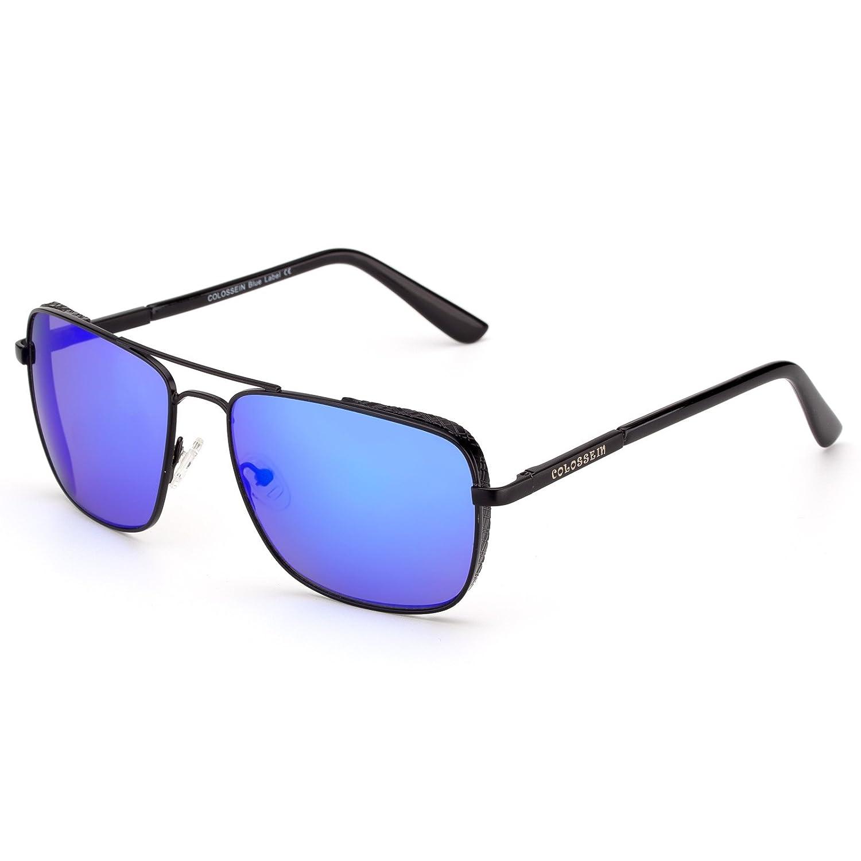 351975c9cb3 Amazon.com  Aviator Driving Sunglasses for Men Polarized Glasses Metal  Frmae UV400 Classic Rectangular Stylish(Blue Lens)  Clothing