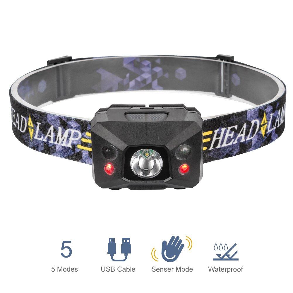 Linkax LEDヘッドランプヘッドライトヘッドトーチUSB充電式モード付き充電式LEDヘッドランプフラッシュライト5モードヘルメットライトランニング用キャンプハイキング釣り照明USBケーブル B0744FNK9X