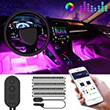 MINGER Car Interior Lights with APP Control, IP65 Waterproof RGB Strip Lighting Kit with Controller and DC 12V Car Charger, 7 Colors Sound Activation, One-Line Design for Easy Install and Hiding