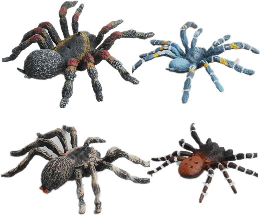 AUCOOMA 4PCS Safari Animal Figurines Set, Jungle Animals Figures, Spider Action Figure