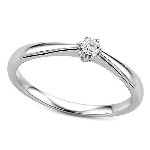 Orovi anillo solitario de mujer con diamante 0.09 quilates en oro blanco 9 kilates ley 375