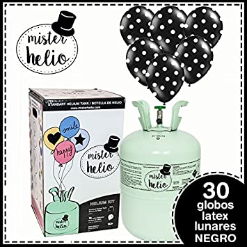 Bombona de Helio Desechable Mister Helio + 30 Globos Negros de Lunares . La botella de Helio más molona: Amazon.es: Juguetes y juegos
