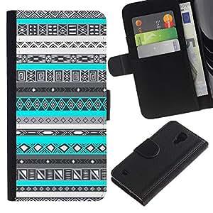 APlus Cases // Samsung Galaxy S4 IV I9500 // Tinta Diseño trullo azul nativo americano // Cuero PU Delgado caso Billetera cubierta Shell Armor Funda Case Cover Wallet Credit Card