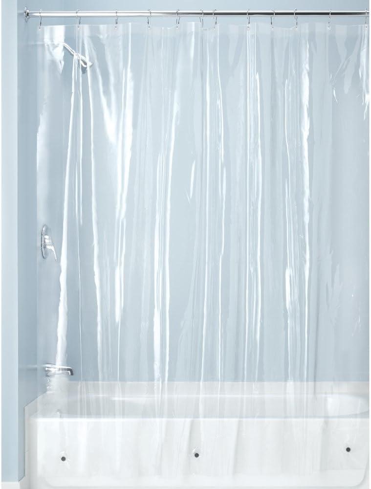 iDesign Cortinas de baño de tela, cortina impermeable de poliéster de 180,0 cm x 200,0 cm, cortina de ducha resistente al moho con 12 ojales de metal, transparente