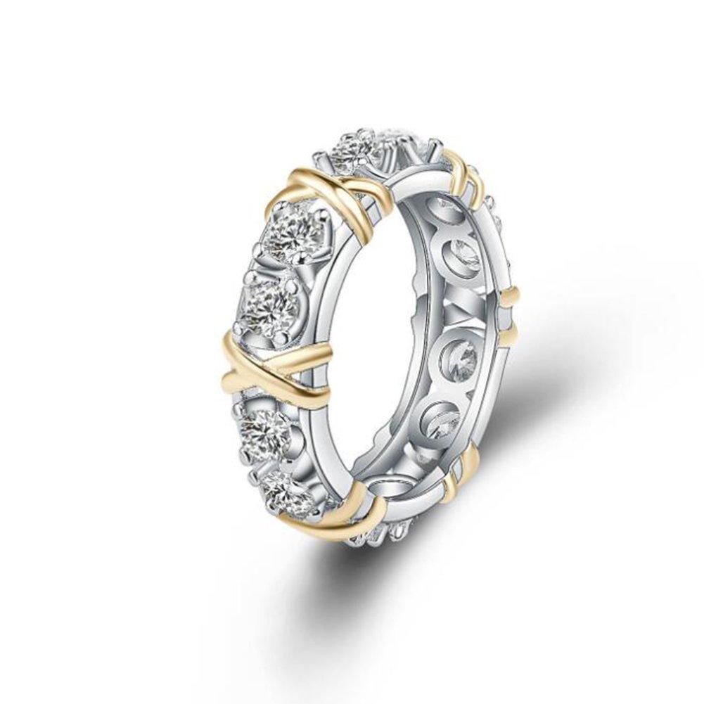 Impression 1pcs Anelli Anello di separazione: Crossover Anello di diamanti di moda anello di vetro Girl Accessori della gioielli festa di San Valentino regali di matrimonio anello aperto Silver YXYP YXFR069