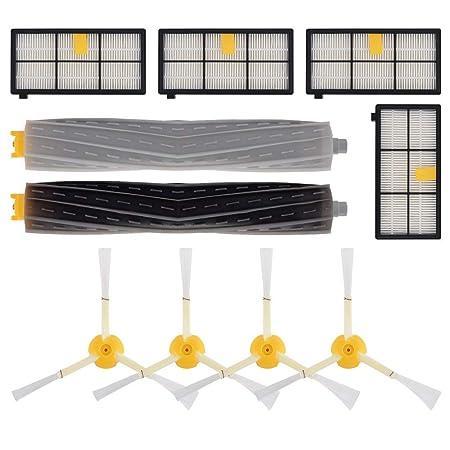 4 x Irobot Roomba 800 Serie Filtri 870 880 con Confezione da 3 Lato Spazzola