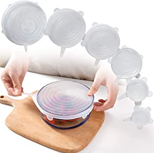 MSUP Silicone Stretch Lids 6 Pack for Fresh Food Reusable Durable Silicone Stretch Food Covers No Leak Transparent Bowl Lids for Different Sizes (6-Pack)